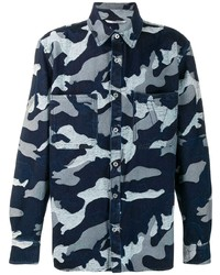 Camisa de manga larga de camuflaje azul marino de Valentino