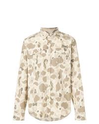Camisa de manga larga de camuflaje en beige de Gant by Michael Bastian