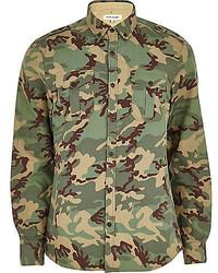 Camisa de manga larga de camuflaje verde oliva