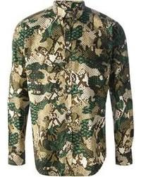 Camisa de manga larga de camuflaje verde