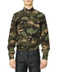 Camisa de manga larga de camuflaje verde oscuro