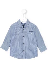 Camisa de manga larga de cuadro vichy azul