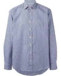 Camisa de manga larga de cuadro vichy azul de Etro