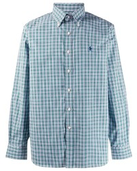 Camisa de manga larga de cuadro vichy celeste de Ralph Lauren