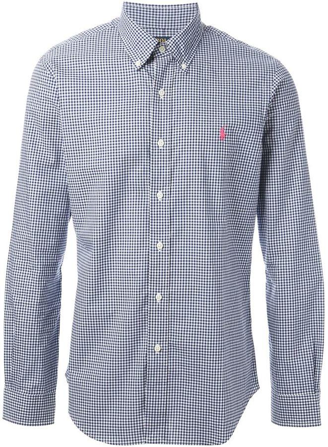 7de13a1ef ... Camisa de manga larga de cuadro vichy en azul marino y blanco de Polo  Ralph Lauren