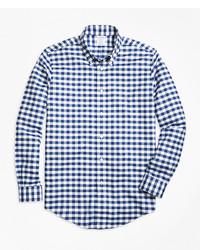 Camisa de Manga Larga de Cuadro Vichy en Blanco y Azul Marino de Brooks Brothers