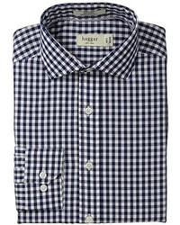 Camisa de manga larga de cuadro vichy en blanco y azul marino de Haggar