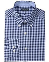 Camisa de Manga Larga de Cuadro Vichy en Blanco y Azul Marino de Nautica