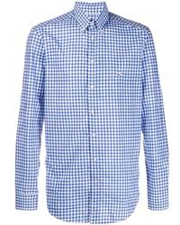 Camisa de manga larga de cuadro vichy en blanco y azul de Etro