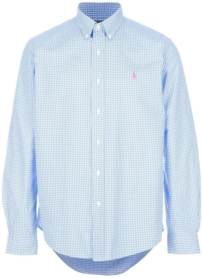 459424c1c ... Camisa de manga larga de cuadro vichy en blanco y azul de Polo Ralph  Lauren