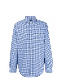 Camisa de manga larga de cuadro vichy en blanco y azul de Ralph Lauren