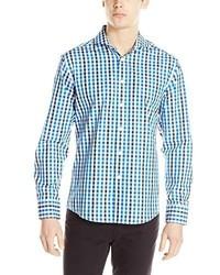 Camisa de Manga Larga de Cuadro Vichy en Blanco y Azul de Vince Camuto