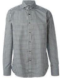 Camisa de manga larga de cuadro vichy en blanco y negro de Tom Ford