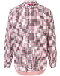 Camisa de manga larga de cuadro vichy en blanco y rojo y azul marino de Junya Watanabe MAN