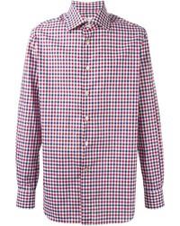 Camisa de Manga Larga de Cuadro Vichy en Blanco y Rojo y Azul Marino de Kiton