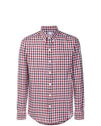 Camisa de manga larga de cuadro vichy en blanco y rojo y azul marino de Moncler