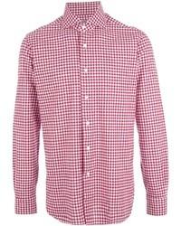Camisa de manga larga de cuadro vichy en blanco y rojo de Barba