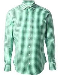 Camisa de manga larga de cuadro vichy en blanco y verde de Etro