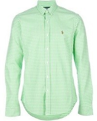 Camisa de manga larga de cuadro vichy en blanco y verde de Polo Ralph Lauren