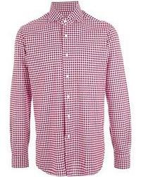 Camisa de Manga Larga de Cuadro Vichy en Rojo y Blanco de Barba