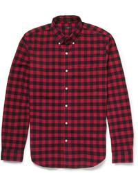 Camisa de Manga Larga de Cuadro Vichy en Rojo y Negro