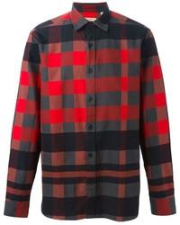 Camisa de manga larga de cuadro vichy en rojo y negro de Burberry