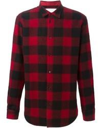 Camisa de manga larga de cuadro vichy en rojo y negro de DSQUARED2