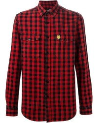 Camisa de manga larga de cuadro vichy en rojo y negro de Love Moschino