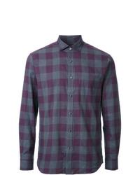 Camisa de manga larga de cuadro vichy en violeta de Kent & Curwen