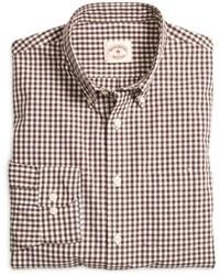 Camisa de manga larga de cuadro vichy marrón