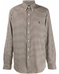 Camisa de manga larga de cuadro vichy marrón de Polo Ralph Lauren
