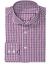 Camisa de manga larga de cuadro vichy morado