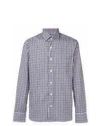 Camisa de manga larga de cuadro vichy morado de Canali