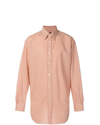 Camisa de manga larga de cuadro vichy naranja de Raf Simons