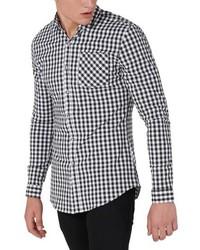 Camisa de manga larga de cuadro vichy negra