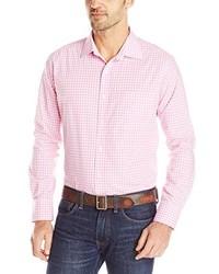 Camisa de manga larga de cuadro vichy rosada