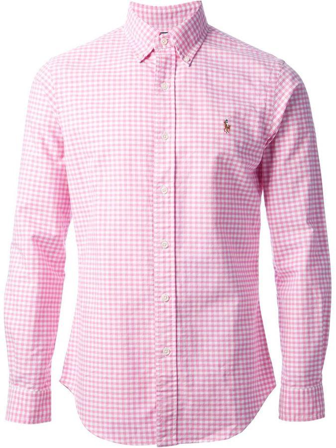 be6c4637b Camisa de manga larga de cuadro vichy rosada de Polo Ralph Lauren ...