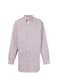 Camisa de manga larga de cuadro vichy violeta claro de Raf Simons