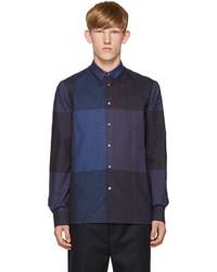 Camisa de manga larga de franela a cuadros azul marino