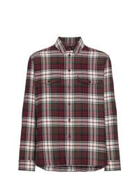 Camisa de manga larga de franela a cuadros burdeos de Gucci