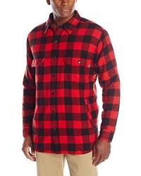 Camisa de Manga Larga de Franela a Cuadros en Rojo y Negro de Woolrich