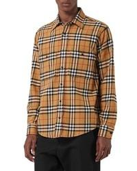 Camisa de manga larga de franela a cuadros marrón claro