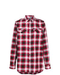 Camisa de manga larga de franela a cuadros roja de Diesel Black Gold