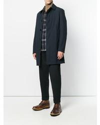 Camisa de manga larga de franela de tartán azul marino de Salvatore Piccolo