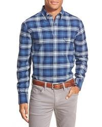 Camisa de manga larga de franela de tartán azul