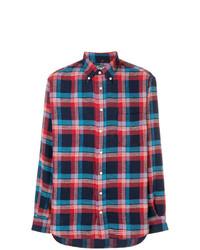 Camisa de manga larga de franela de tartán en azul marino y rojo de Gitman Vintage