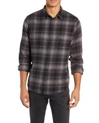 Camisa de manga larga de franela de tartán en gris oscuro