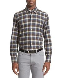 Camisa de manga larga de franela de tartán marrón