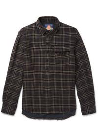 Camisa de manga larga de franela en gris oscuro