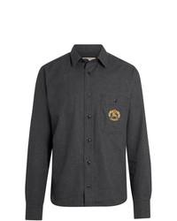 Camisa de manga larga de franela en gris oscuro de Burberry